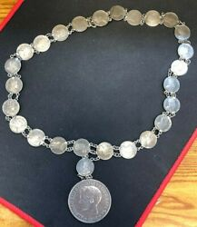 Silver Coin Necklace - 1897 Philippines Peso And Early 1900's Canada 5 Cent Silver