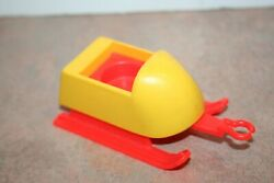 Vintage Fisher Price 705 Mini Snowmobile Yellow Red Sled Side Car
