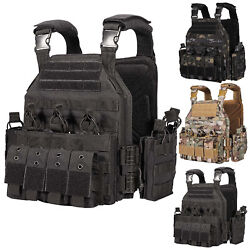 Tactical Military Vest Molle Quick Release Heavy Duty Plate Carrier W/ Pouches