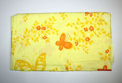 Vintage Pequot Mariposa Butterfly Floral Orange Yellow Queen Flat Percale Sheet