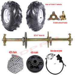 32 Go Kart Rear Live Axle Kit And 7 Wheels Brake Assembly And Clutch Golf Cart Atv