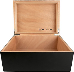 Large Wooden Box With Hinged Lid - Wood Storage Box With Lid - Black Stash Box -