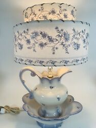 Vtg Blue And White Pitcher And Bowl Lamp W/ Double Parchment Shade Cottage Flowers
