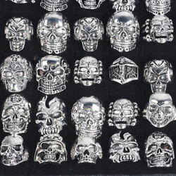 25pcs Wholesale Lots Gothic Punk Skull Antique Silver Rings Mixed Style Jewelry