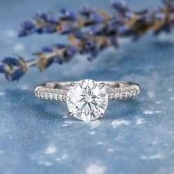 2.30 Ct Round Diamond Engagement Woman Ring Sterling Silver Vvs1/d Fine Jewelry
