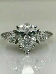 4.00 Ct Pear Cut Diamond Sterling Silver Engagement Ring Vvs1/d Womanand039s Jewelry