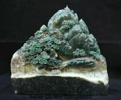 11.8 China Natural Dushan Green Jade Carved Tree Man Boat Mountain Water Statue