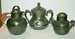 2 Antique Eg Webster And Sons Silverplate Eagle Sugar And Creamer + Wm A Rogers