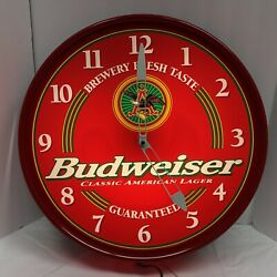 1996 Budweiser King Of Beers Lighted Light Up Red Wall Clock Works Great Color