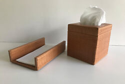Genuine Leather Boutique Tissue Box Cover And Guest Towel Holder, Marble Croc