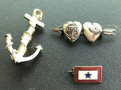 Lot Wwii Ww2 Us Navy Usn Homefront Son Sweetheart In Military Service Star Pins