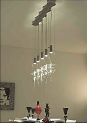 Chandelier Hanging Of Design Murano Glass Original Made In Italy 5 Light Led