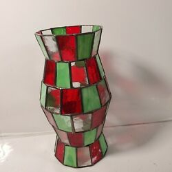 Partylite Mosaic Hurricane Shade Candle Cover 10 Green And Red One Crack See Pic3
