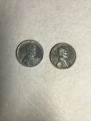 2 Rare 1943 Silver Steel Wheat Penny Sticks To Magnets