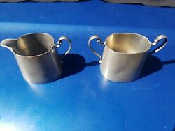 Old Pair Of Pewter Milk And Sugar Vessels Both Marked Beautiful Antique Tankards