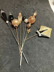 Collection Lot Of 9 Vintage Decorative Hat Pins Stick Pins Ds
