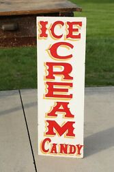 Vintage Ice Cream Candy Store Shop Display Sign Old Soda Pop General Store
