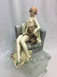Vtg Art Deco Bertolotti Milano Italy Lady With Dog On Couch Figurine