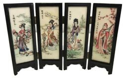 Small Wooden Japanese 4 Panel Screen For Dolls House Birds Women 7 Height
