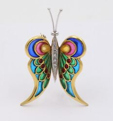 Vintage Plaque A Jour 18k Yellow White Gold Butterfly Brooch