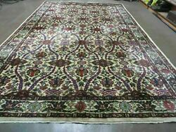 8' X 12' Vintage Hand Knotted Made India Floral Oriental Wool Rug Nice Ivory
