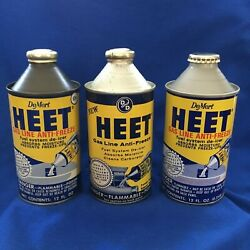 Vintage Demert Heet Gas Line Anti-freeze Cone Top Tin Cans 3 Full 12oz Cans Nos