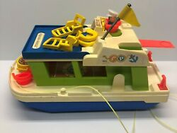 Vintage 1972 Fisher Price Happy House Boat With Accessories Little People