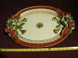 Fitz And Floyd Xmas Deer Oval Platter Appx 13 1/2 X 19  Holly+ + Free Shipping