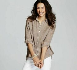 J. Jill - 3x - New Excellent And Comfy Linen Toffee/white Relaxed Shirt - Nwt