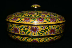 10.4 Old China Yellow Cloisonne Enamel Copper Dynasty Flower Lids Jewelry Box