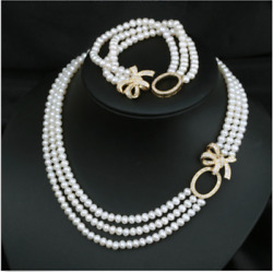 3 Rows 4-5mm South Sea Round White Pearl Necklace 181920andbracelet 7.5-8inch