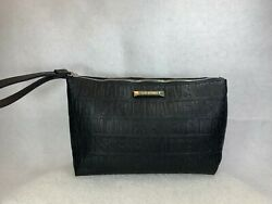 Steve Madden Clutch Large Cosmetic Black Gold Faux Leather Wristlet 13X8X4.5 $26.10