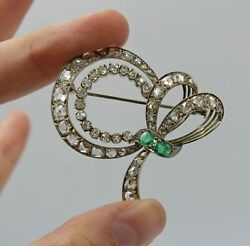 Antique 18k White Gold 6 Carats Rose Cut And Transitional Diamonds Emerald Brooch