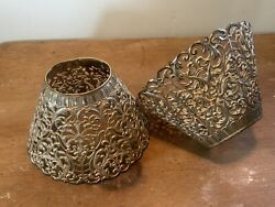 2 Antique Silver Metal Pierced Shades For Candle Chimneys