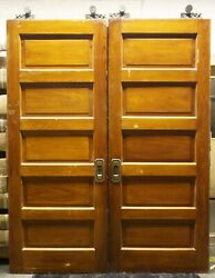2 Avail 64x84x1.75 Antique Vintage Old Solid Wood Wooden Double Pocket Doors