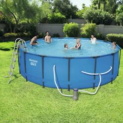 Bestway 15and039x48 Steel Pro Max Above Ground Swimming Pool Set W/ 1000 Gph Pump