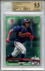 Ronald Acuna 2017 Bowman Topps Holiday Green /99 1st Yr Rookie Bgs 9.5