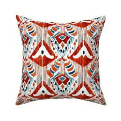 Red Ikat Abstract Watercolor Throw Pillow Cover W Optional Insert By Roostery