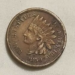1859 Indian Head Cent Penny Copper Nickel Ef Xf Choice Coin