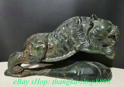 24 Old China Natural Green Jade Carved Feng Shui Zodiac Animal Tiger Statue