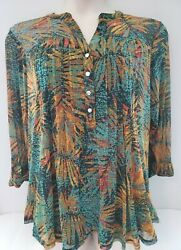 Ava And Grace Gorgeous Gold And Green Tunic Blouse 3/4 Tab Sleeves Size 2x Nwt