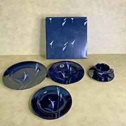 Vtg Mikasa Cala Lily Opus Black Discontinued 10 Complete Dinnerware Sets In Box