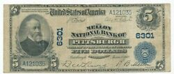 1902 5 Five Dollar Mellon National Bank Of Pittsburgh Note-circulated-free S/h