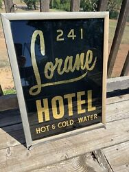 Antique Reverse Glass Painted Lorane Hotel Sign Los Angeles California