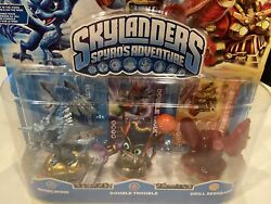 Rare Skylanders Elite Whirlwind Royal Double Trouble Clear Drill Sergeant Set