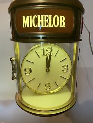 Michelob Crystal Hanging Bar Clock/light Excellent Condition