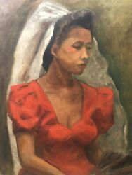 🔥 Antique Mid Century Black African American Modern Oil Painting Exhibited 1943
