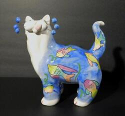 2002 Large Amy Lacombe Whimsiclay Cat Figurine with Fish Design 7.5quot; Tall