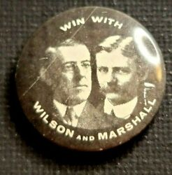 Antique Vintage Woodrow Wilson Wilson And Marshall Presidential Pin Pinback Button