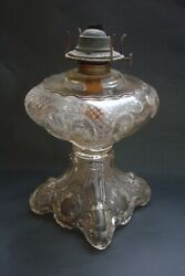 Antique 1880s Eapg Princess Feather Oil Lamp Clear Glass -exc
